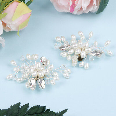 1 Pair rhinestone pearl shoe clips wedding party shoes charm decoration FO