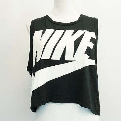 345b9f9f876bc3 Nike Womens Top Sportswear Essential Tank Black White Graphic Cropped Top  XL  35