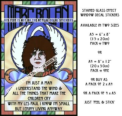 Marc Bolan Stained Glass Window Decals - Free P&p On Extras - Shrine Fundraisers
