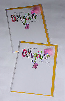 "DAUGHTER HANDMADE EASTER CARDS X 12, JUST 39p, 7"" x 5""   ( B196"