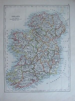 1894 Victorian Map ~ Ireland Meath Clare Limerick Mayo Connaught Londonderry