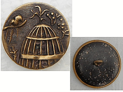 Very Antique Victorian Brass Button Embossed Cage and Parrot Collectible Button