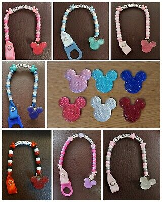 ❤Beautiful❤ Personalised Minnie Mickey Mouse Disney Dummy Clip FREE MAM ADAPTER