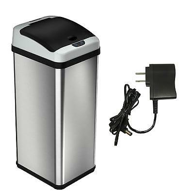 iTouchless 13 Gallon Stainless Steel Touchless Trash Can with AC Adapter