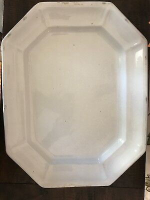 Antique Ironstone Platter White Farmhouse