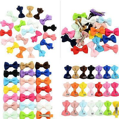 20Pcs Hair Bows Band Boutique Alligator Clip Grosgrain Ribbon Girl Baby Kids LE