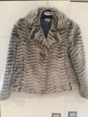 Girls Autograph By M&S Faux Fur Jacket Age 9-10  Excellent Condition