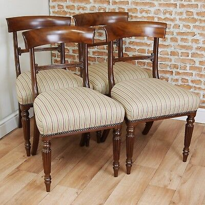 Set of 4 Antique William IV Solid Mahogany Dining Chairs Regency Carved C1835