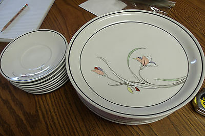 Vintage Nitto Meadow Stone Ming Garden China Japan 8 Saucers & 8 Dinner Plates