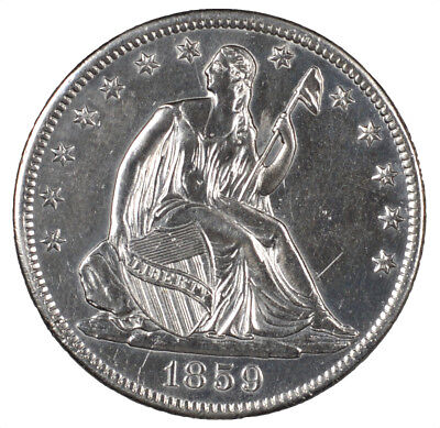 1859-S Seated Liberty Silver Half Dollar Polished Altered Surfaces 50C L@@K