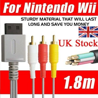 UK 3RCA Audio Video Composite Wire Cable TV Lead For Nintendo Wii Gold Plated