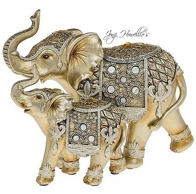 Gold Pearl Circle ELEPHANT & BABY Ornament Figurine Jumbo Elephants Gift