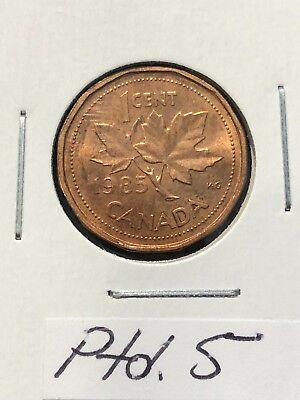 1985 Canada One Cent Penny POINTED PTD 5 NICE! Red!
