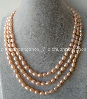 "X0200 6row 19/"" 6 mm Baroque Freshwater cultured pearl necklace"