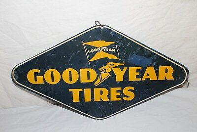 """Vintage 1950's Goodyear Tires Gas Station 2 Sided 23"""" Metal Sign"""