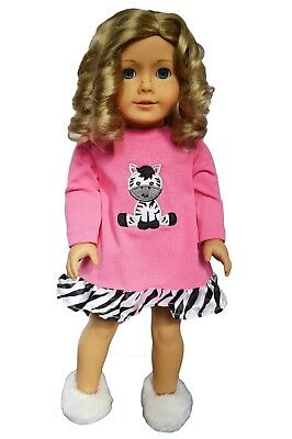 Zebra Nightgown Outfit Fits 18 inch American Girl Doll Clothes