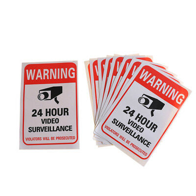 10Pcs Home CCTV Surveillance Security Camera Video Sticker Warning Decal Sign OJ