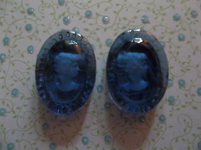 Glass Cameos 25X18mm Oval Cabochons Montana Blue Reverse Carved Intaglio German