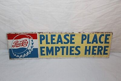 """Vintage 1950s Pepsi Cola Place Empties Here Soda Pop Gas Statoion 18"""" Metal Sign"""