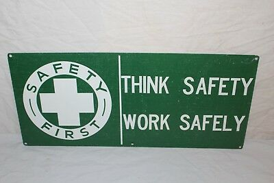 """Vintage 1950's Safety First Gas Station Factory 20"""" Metal Sign"""