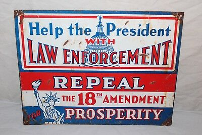 """Vintage 1920's Repeal The 18th Amendment Beer Prohibition Gas Oil 12"""" Metal Sign"""