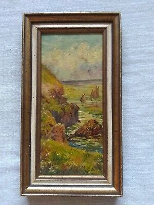 Signed Canadian Miniature Landscape, Nova Scotia Racing Schooners, 1937.