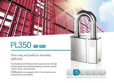 ABLOY PL-350/50T PROTEC2 HIGH SECURITY PICKPROOF LONG SHACKLE LOCK w/3 KEYS & ID