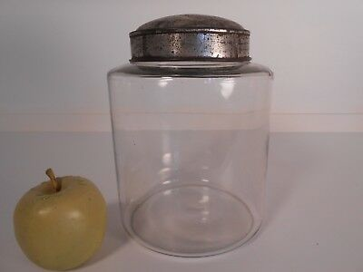 Antique 19th c Glass Authentic Apothecary Jar w/ Tin Lid AA