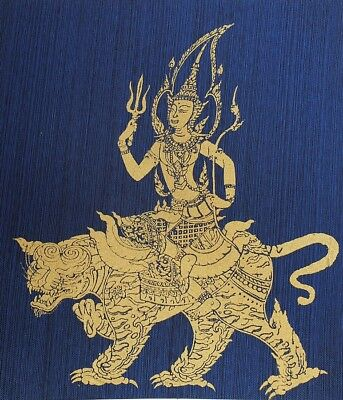 Thai Art Silk Painting Poster Print Goddess on Tiger Figurine Asian Home Decor