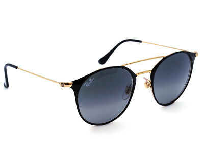 787fbf07730aef Ray Ban Sunglasses RB 3546 187 71 3N Black Gold Round Metal Italy 49