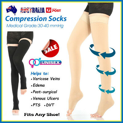 30-40 mmHg Medical Compression Stockings Support Varicose Flight Travel Socks