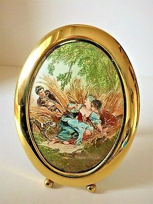 Antique French Miniature Enamel On Copper Oil Painting