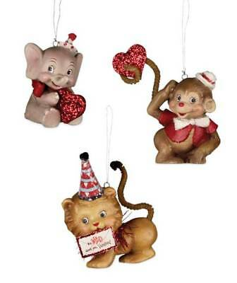 Bethany Lowe Wild About You Valentine Ornament Set 3 NEW TD7601 Collectible