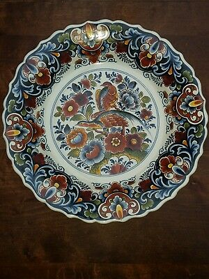 "11"" Large Faience Porcelain Oud  Delft Floral Birds  Wall Plate Charger Vintage"