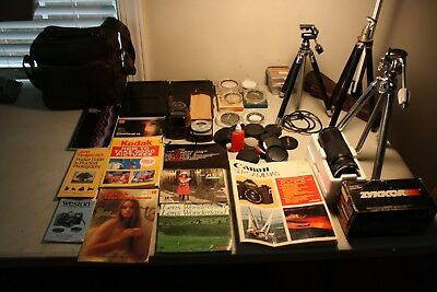 Assorted photography/camera equipment,tripods, meters,plates, manuals as a lot