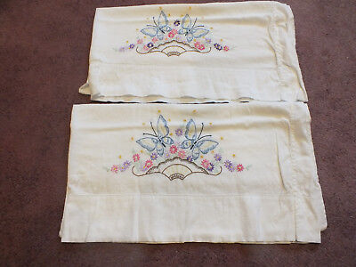 """Collectible Pillowcase Set 2 White Embroidered Flowers 30x16"""" Vintage"""