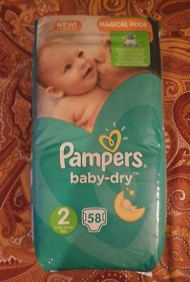 232 couches pampers baby dry taille 2 -mini - 3 à 6 kg