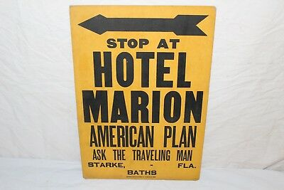 "Vintage 1920's Hotel Marion American Plan Traveling Man Gas Oil 18"" Sign"