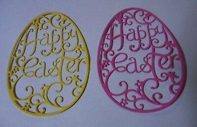 Happy Easter Egg Shaped Die Cut Cardstock Embellishments x 4 PC