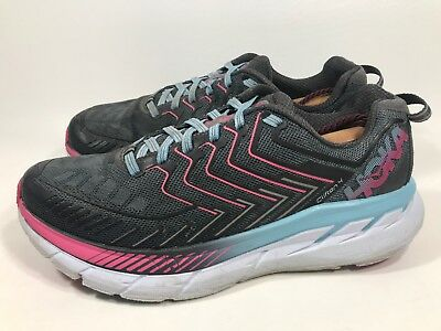 89c961ba50bf9 Womens Hoka One One Clifton 4 Running Athletic Shoes Size 8.5 Grey Pink  Blue (a9