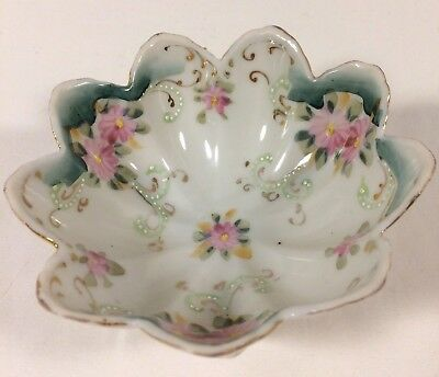 Noritake Cherry Blossom Mark Nippon Footed Nut Dish Pink Teal Gold Scallop 1924
