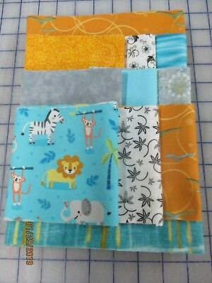 Adorable Safari Animals Disappearing 9 Patch Baby Quilt Complete Kit