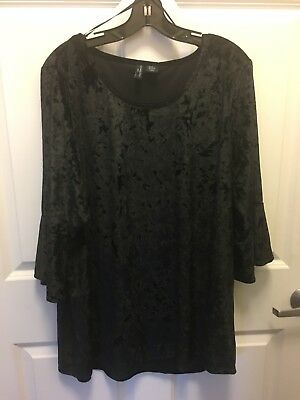 Cynthia Rowley New York Women's Luxe Tee Sz. US 2x Black Fuxe Crushed Chinach