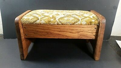 Vintage Oak Wooden Footstool Tapestry Fabric Dated 1928 14 wide
