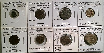 Bahmani Sultanate high quality collection of 8 different coins - from USA