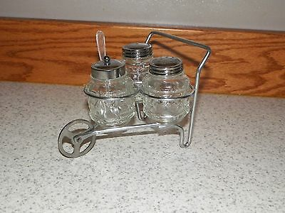 Vintage Glass Salt / Pepper Shakers in Metal Wheelbarrow Holder/ SUGAR & SPOON