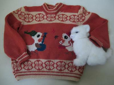 Vintage Childs Hand Knitted Wool Sweater Baby Animals Intarsia Ducks Goat Nordic