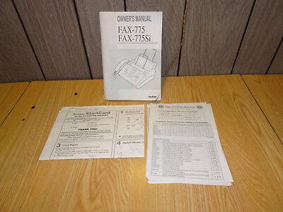 Original Owner's Manual and papers for Brother Intellifax Fax 775 775Si Machines