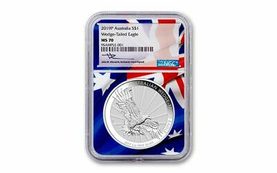 2019-P Australia Wedged-Tailed Eagle NGC MS70 1 oz Silver Flag Core BU Coin