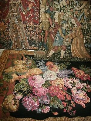3 French Tapestry Wallhangings, Rod Pockets, Scenes, Figures
